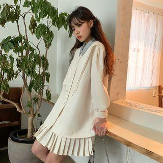 2-in-1 Pleated Shirtdress Cream - One Size