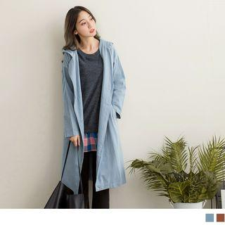 Double Breasted Tie-waist Hooded Trench Jacket