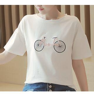 Bike Embroidered Short Sleeve T-shirt