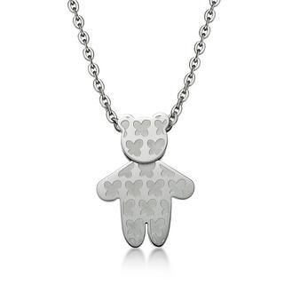 Butterfly Kenny Bear Pendant With Necklace Silver - One Size