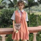Mock Two-piece Short-sleeve Striped Panel Mini Collared Dress
