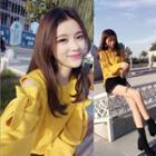 Cut-out Shoulder Knit Top Yellow - One Size