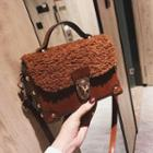 Faux Shearling Studded Buckled Box Crossbody Bag