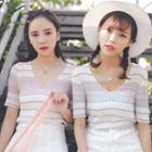 Striped Short Sleeve V-neck Knit Top