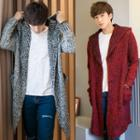 Cable-knit Hooded Open-front Long Cardigan
