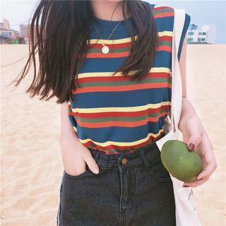 Striped Knit Sleeveless Top As Shown In Figure - One Size