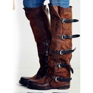 Buckle-accent Panel Long Boots