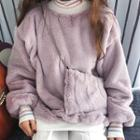 Set: Mock-neck Furry Sweater + Crossbody Bag