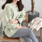 Slit-hem V-neck Sweater