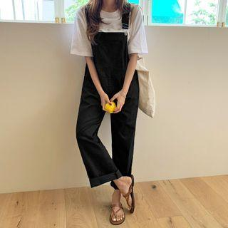 Straight-cut Jumper Pants Black - One Size