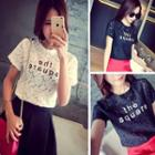 Lettering Short-sleeve Lace Top