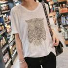 Embroidered Owl Short-sleeve T-shirt