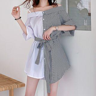 Cold-shoulder Short-sleeve Striped Mini Shirtdress As Shown In Figure - One Size