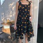 Dotted Sleeveless Midi Dress As Shown In Figure - One Size