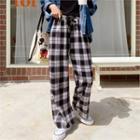 Drawstring-waist Wide-leg Plaid Pants