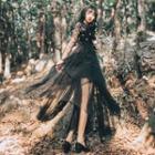 Mesh-panel Lace Midi Dress
