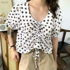Dotted Drawstring Puff-sleeve Blouse
