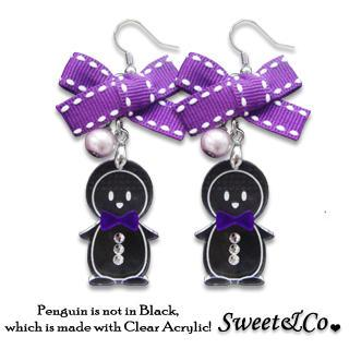 Lovely Violet Ribbon & Bowtie Penguin Earrings