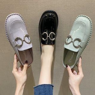 Metal Accent Mule Loafers