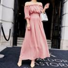 Striped Off Shoulder Elbow Sleeve Striped Maxi Dress