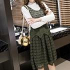 Set: Mock Two-piece Dress + Crochet Vest