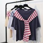 Elbow-sleeve Striped Tie-front Top
