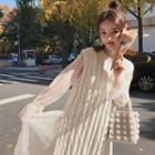 Polka Dot Sheer Dress / Knit Tank Top