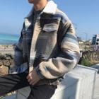 Furry-trim Print Buttoned Jacket