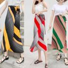 Midi Striped Chiffon Skirt