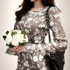 Floral Appliqu  Ruffled Mini Dress