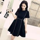Short-sleeve Grommet Mini A-line Dress