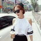 Elbow-sleeve Cold-shoulder Contrast-trim Top Milky White - One Size