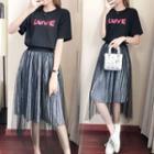 Set: Short-sleeve T-shirt + Pleated Midi Skirt