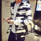 Printed Hooded Padded Zip Jacket