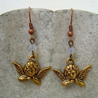 Blessing Angel Earrings Gold - One Size