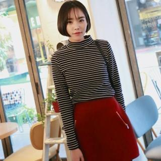 Mock-neck Stripe Top