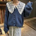 Lace Collar Shirt / Plain Cardigan