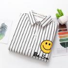 Long-sleeve Smiley Face Striped Shirt