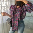 Ruffled Floral Chiffon Blouse Purple - One Size