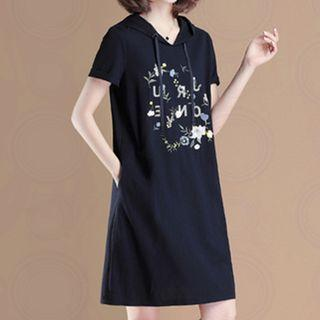 Short-sleeve Embroidered Hoodie Dress
