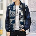 Camouflage Print Faux Leather Panel Zip Jacket
