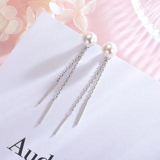 Faux Pearl 925 Sterling Silver Fringed Earring S925 Silver - Earrings - 1 Pair - One Size