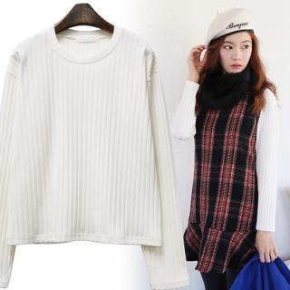 Long-sleeve Rib-knit Top