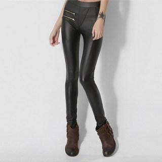 Zip-accent Faux-leather Leggings