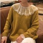 Plain Sweater/ Capelet Long-sleeve Mesh Top