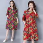 Long-sleeve Linen Floral A-line Dress