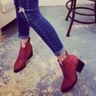 Chunky Heel Pointy Ankle Boots