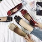 Patent Square Buckled Flats