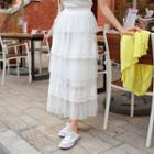 Lace-trim Tulle Maxi Layered Skirt