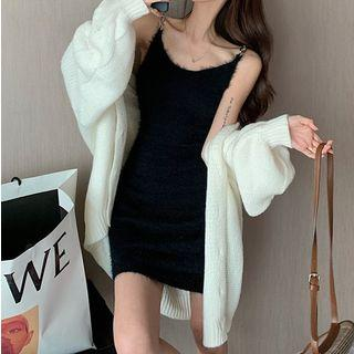 Spaghetti Strap Mini Sheath Furry Dress